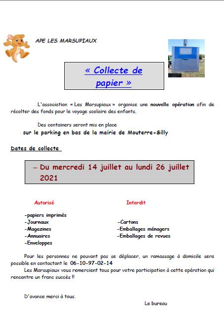 Read more about the article COLLECTE DE PAPIERS