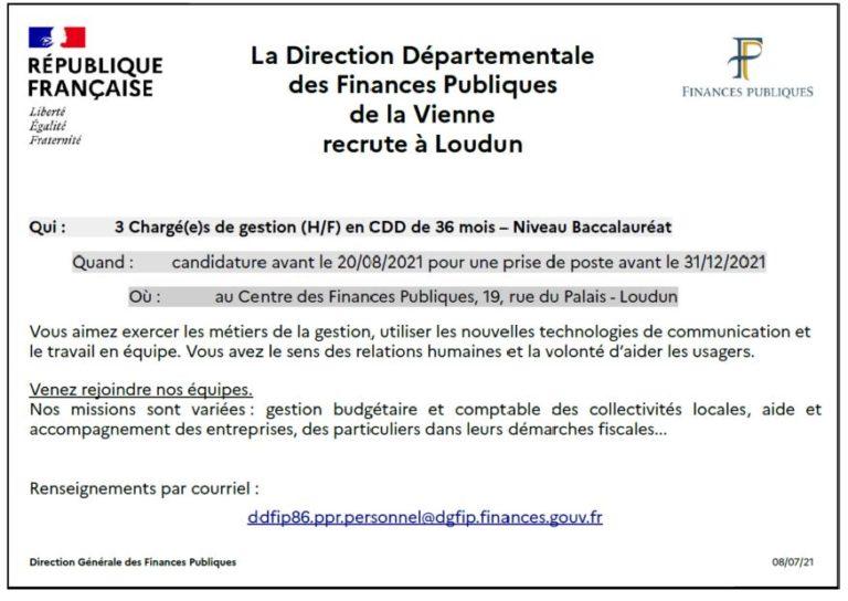 Read more about the article Recrutement 3 chargés de missions – Trésorerie de Loudun
